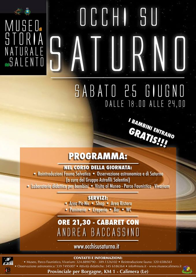 """""""Occhi su Saturno"""" al Museo di Storia Naturale del Salento"""