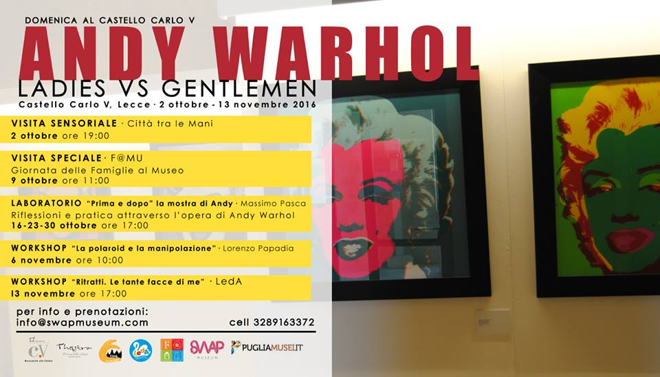 dal 2 Ottobre al 13 Novembre una serie di eventi di sei domeniche da trascorrere tra visite sensoriali, aperture speciali, laboratori e workshop incentrati sull'eclettica figura di Andy Warhol